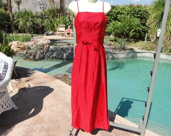 """Vintage 1950s dress Emma Domb cocktail wedding party red taffeta 34"""" bust formal gown train"""