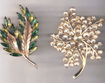2pc LOT - Vintage Rhinestone Pins / Brooches with Leaf Designs - Large Size