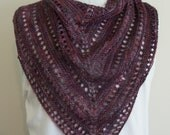 Purple Shawl Wrap, Triangular Lace Shawl, Knitted Shawl, Triangular Head Scarf, Women's Fashion Accessory, Purple Wool Shawl