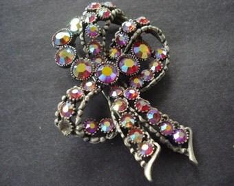PRECIOUS Vintage Brooch by BSK Iridescent Ruby Red  Rhinestone Bow