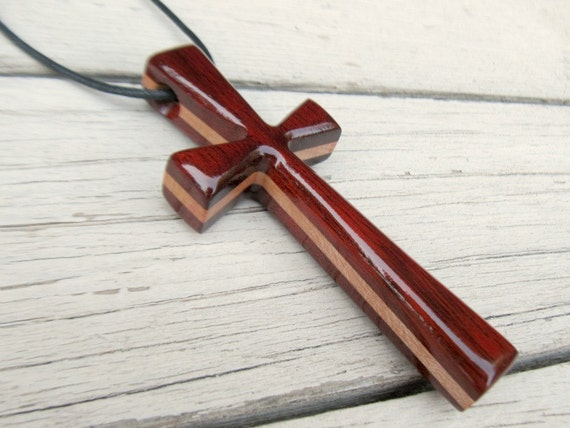 Large Wood Cross Necklace - Maple & South American Bloodwood
