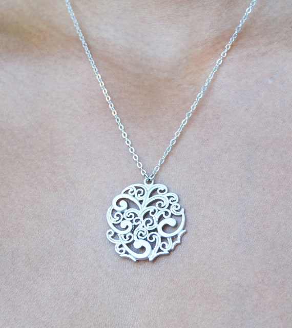 Silver Cirlce Necklace, Tribal