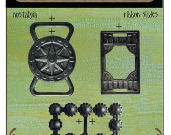 Free US Shipping vintaj Nostalgia ribbon slides arte metal set of 3 steampunk compass