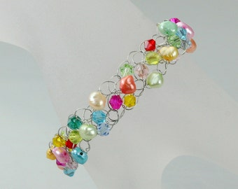 Rainbow colorful Chunky crocheted wiring bracelet Bridesmaids gifts Free US Shipping handmade Anni Designs