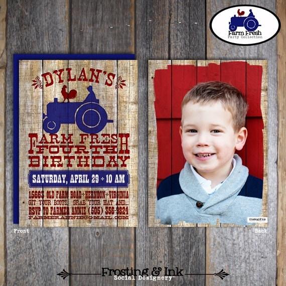 Farm Party - Barnyard Birthday Party - Invitation & Wrap Around Address Labels With Photo - Printable (Tractor, Farm Animal, Vintage)