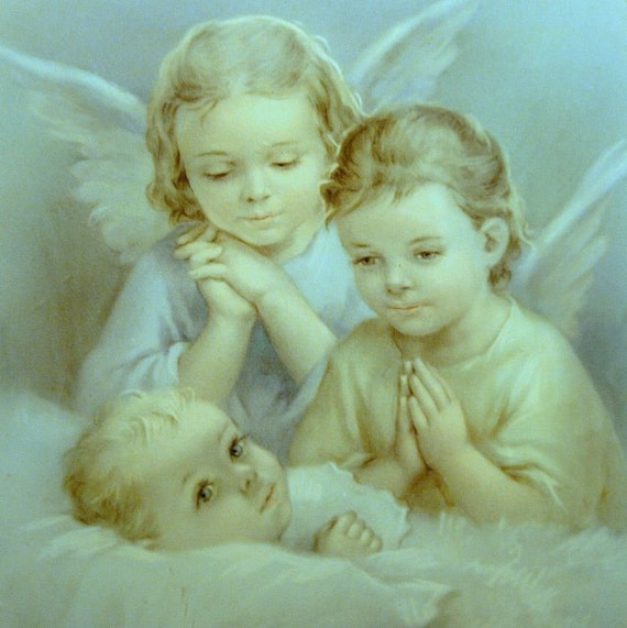 Vintage Baby Print Guardian Angels Picture Nursery Decor Wall