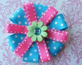 Turquoise and Hot Pink Flower Hair Bow