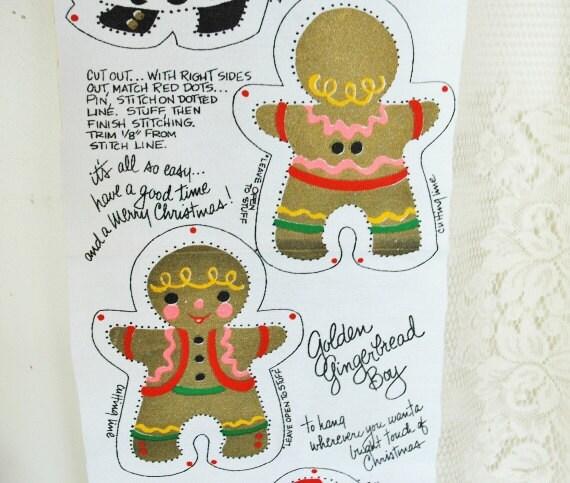 Vintage Candycane Fairy Golden Gingerbread Boy Merry Christmas Tree Girl Preprint Panel Kunenfelt Christmas Ornaments or Appliques Kawaii