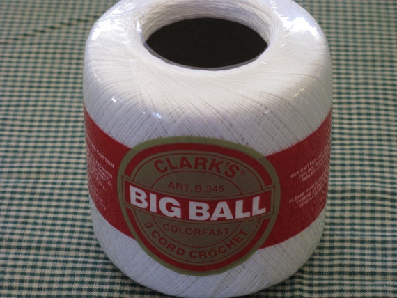 Clark S Mercerized Crochet Cotton Big Ball 3 Cord White