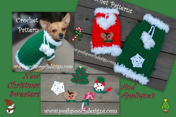 Instant Download CROCHET PATTERN - Christmas Dog Sweater with 5 Appliques - Small Dog Sweater