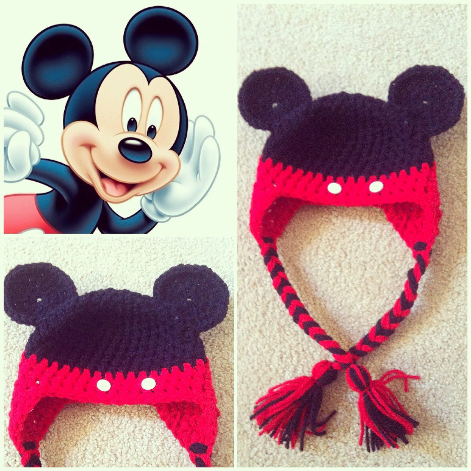 Crochet mickey mouse beanie hat