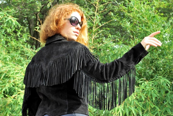 Funtastic Fringe 1980s Vintage Pioneer Wear Onyx Black Leather Fringe Western Style Jacket Sz 8 / Medium