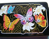 """Vintage 80's """"INTERPUR"""" Rectangle TIN CAN  in Butterfly Theme by  Made in Hong Kong"""