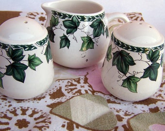 "Vintage 60's ""CAFE CLASSICS"" Salt & Pepper Shakers with Creamer Mug in Green Ivy Design"