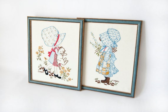 Holly Hobbie Embroidery Framed Pictures 1980s Nursery Childrens Room Decor