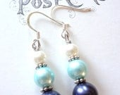 Bridesmaid Earrings Glass Pearls in Navy, Light Blue, and White