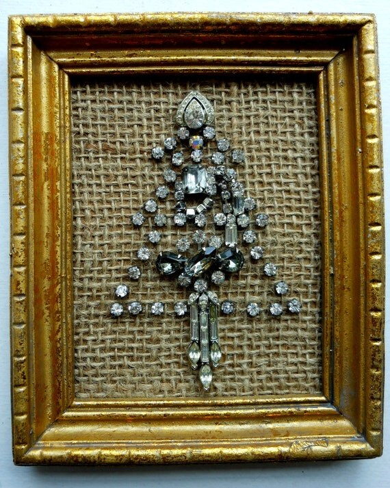 Vintage Rhinestone Costume Jewelry Christmas Tree altered art Framed Picture on Burlap