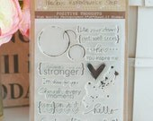 "Photopolymer Clear Stamps - Positive Thoughts - Stamp Set - 4""x6"" Sheet - High Quality - 17 Stamps - Clear Stamps"