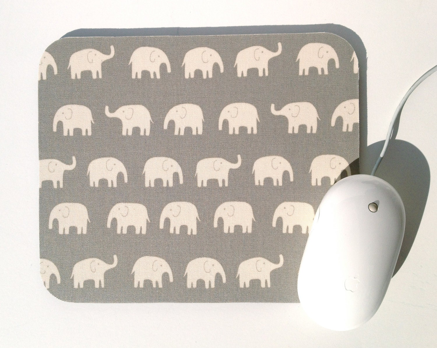 Elephant Mouse Pad / Gray And White / Modern Home Office Decor