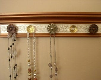 "jewelry organizer with knobs on copper metallic finished wood with champagne embossed background 15"" necklace organizer wall hanging rack"