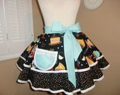 Cupcakes, Cookies and More...Super Cute Print Accented With Mutli Colored Sprinkles Womans Half Apron...ONLY ONE and Ready To Ship