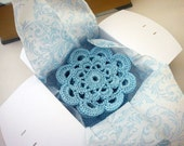 Sky blue coasters set of 8 crochet flower coasters in gift box
