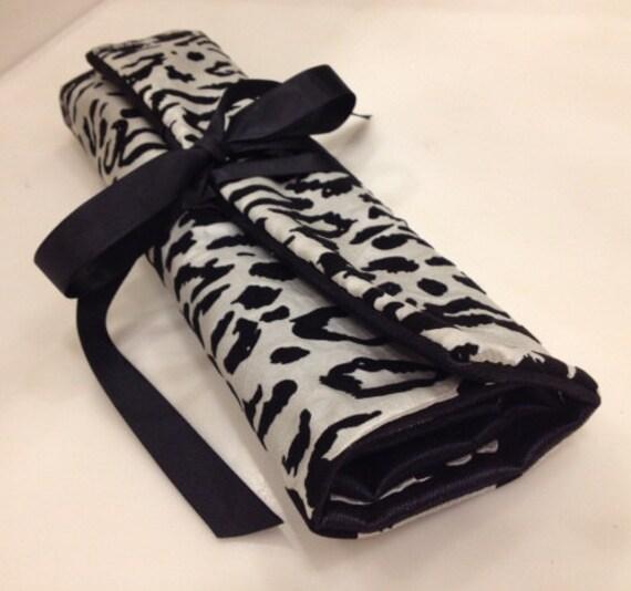 Black White Snow leopard Vinyl glitter mesh tule Makeup Brush holder travel Roll bag organizer