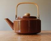 RESERVED Vintage Brown Enamel Kettle with Wooden Handle