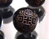 Round Black Glass Victorian-era Buttons