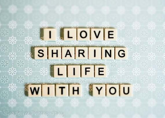 Valentines Day, Letter Tile Art, Romance Romantic Love Dreamy Anniversary Gift Blue White Life Pastel, Word Art Print