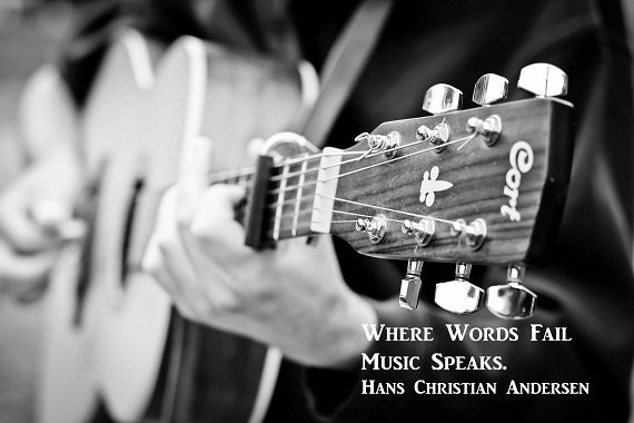 Guitar Music Quote Words Fail Music Speaks Musician Acoustic Guitar Musical Black and White, Fine Art Photography