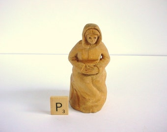 Vintage Hand Carved Woman In A Hooded Cloak - Wood - 1970s - Medieval Woman