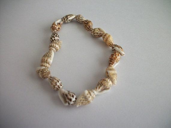 SALE Cone Shell Bead Brown Cream White Beach Seashell Elastic Wrist Bracelet Summer
