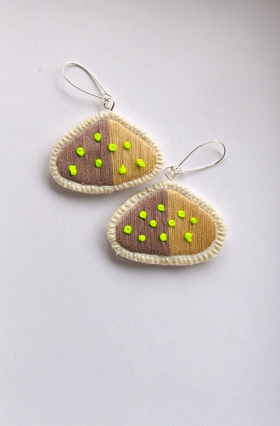 Neon geometric earrings embroidered silver dangle two toned beige Summer fashion