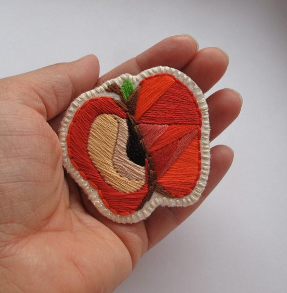 Back to school teacher gift red apple slice brooch embroidered
