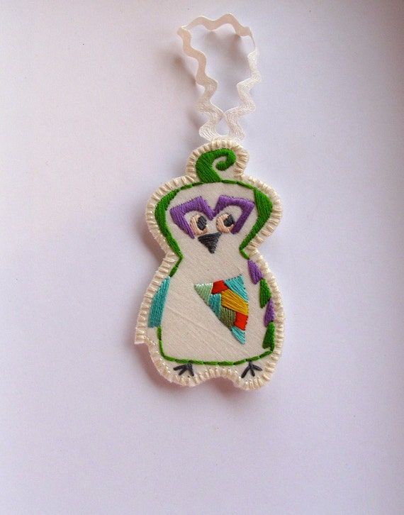 Quail Christmas ornament hand embroidered geometric shapes with bright colors