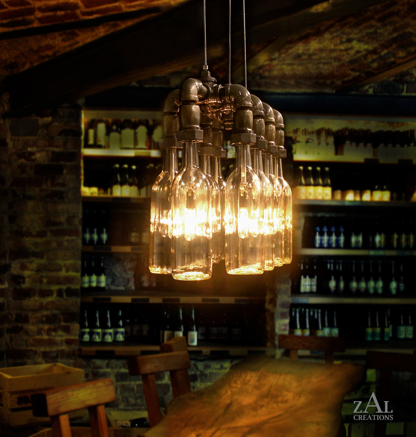 Pendant light wine beer bottles suspension lamp for Suspension luminaire original