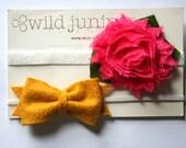 Baby Headbands // Baby Girl Headband Set // Baby Headband Set // Yellow Bow and Pink Flower