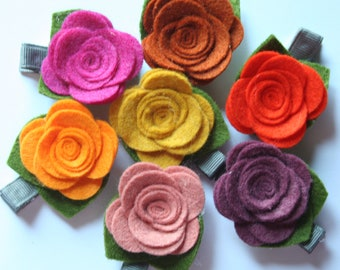 Felt Flower Hair Clips - You Choose Colors