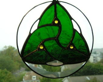 "Stained Glass|Celtic Knot Suncatcher|""Trinity""