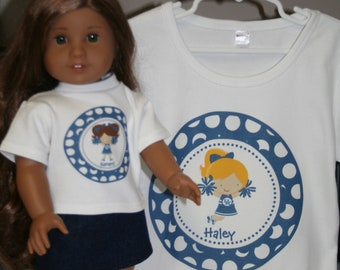 Kentucky Wildcats Cheerleader Custom DOLL SHORT/LONG Sleeve Tshirt - matching girl shirts are listed separately