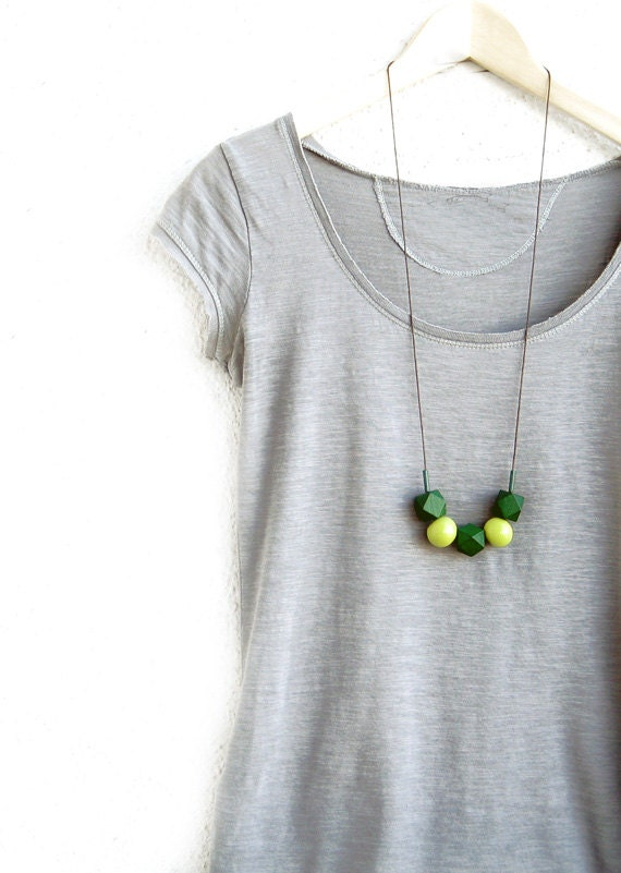 Wooden  and ceramic geometric Necklace