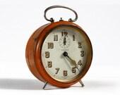 "Beautiful Antique French Orange BAYARD Alarm clock ""NIC"""