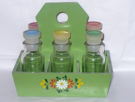 Vintage JAPAN Spice Jar RACK Carrier 6 Glass Bottles and Green WOODEN Holder Retro Kitsch Kitschy