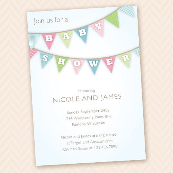 baby bunting unisex baby shower invitation design by llpapergoods