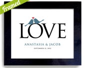 Wedding Gift for Couples Love Birds Art Print Personalized