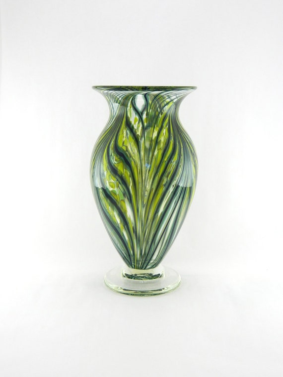 Hand Blown Art Glass Vase - Bright Lime Green and Apple Green