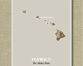 Hawaii the State - Illustrated States of America 11 x 14
