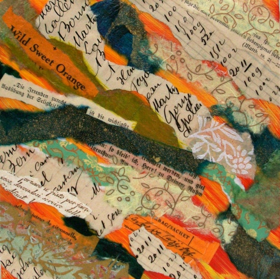 Original Abstract Torn Paper Collage, Mixed Media Collage, Orange, Teal, Green, 6x6, home decor