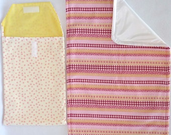 Pretty Pink Stripes Diaper Changing Pouch Set includes: Changing Pad & Pouch